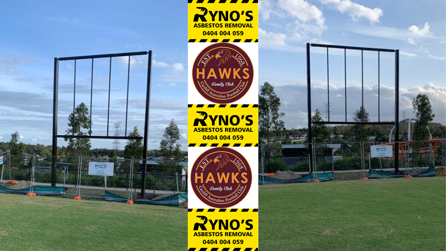 photos of new scoredboard erected, with sponsor Ryno's logo